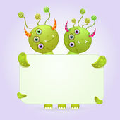 Two Headed Monster Holding Empty Paper — Stock Vector