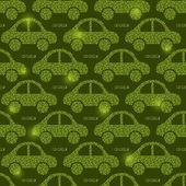Green Eco Car Seamless Pattern — Stok Vektör