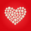 White Pearl Heart on Red Valentaine Day Background — Stock Vector