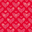Stock Vector: PolkDot Heart Seamless Pattern