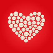 White Pearl Heart on Red Valentaine Day Background — Vector de stock