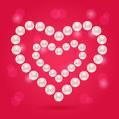 Pearl Heart on Pink Valentaine Day Background — Stock Vector