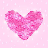 Pink Valentine Day Card with Wavy Heart — Stock Vector