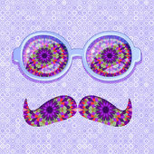 Colorful Glasses and Mustaches with Floral Pattern — Stock Vector