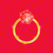 Wedding Ring with Red Diamond Stone — Wektor stockowy