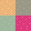 Seamless Floral Pattern Set — Stock Vector