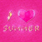 I Love Summer Lettering with Shiny Pink Heart — Stock Vector