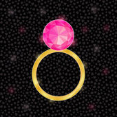 Golden Ring with Pink Jewelery Stone — Stock Vector