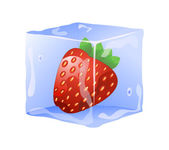 Strawberry in ice cube — Stock Photo