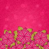 红色花自然背景卡 — 图库照片