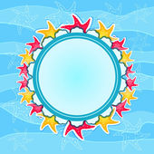 Round Label with Starfishes on Wave Background — 图库照片