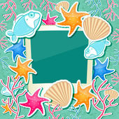 Photo Frame with Fish Starfish Coral and Seashell — 图库照片