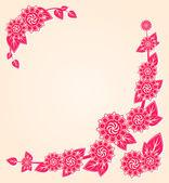 Růžové květy na rohu květinovým kartu — Stock fotografie