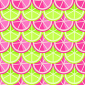 Seamless Pattern with Grapefruits and Limes in Straight Order — Stock Photo