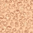 Brown Seamless Pattern with Coffee and Tea Cups — Stock Photo #46721665