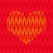 Red Knitted Heart on Purple Background — Stock Photo