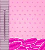 Cartão de férias-de-rosa com os lábios — Foto Stock
