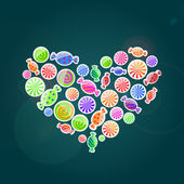 Colorful pattern with candies.  illustration in heart shap — Foto Stock
