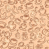 Brown Seamless Pattern with Coffee and Tea Cups — Stock Photo