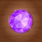 Glänsande lila ädelsten ikonen på trä bakgrund — Stockvektor