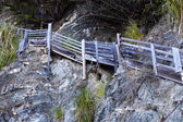 Wooden Stairs Going Up Cliff Wall Beach — Stock Photo