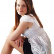 Young caucasian woman business outfit sitting on stool — Stock Photo #3806681