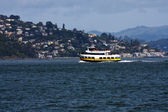 Ferry Boat Overcast Day on Bay People — Stock Photo