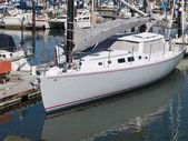 Sailboat Tied Up at Dock in Marina — Stock Photo