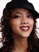 Smiling Filipino Hispanic Woman Portrait With Hat — Stock Photo