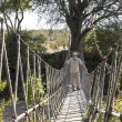 Portrait of traveller standing on suspension bridge — ストック写真 #31375215