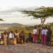 African tribe playing musical instruments and singing — Stock Photo