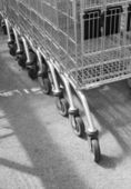 Supermarket trolleys — Stock Photo