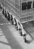 Supermarket trolleys — Stock Photo
