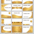 Gold coloured business cards - 图库矢量图片