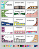 Fifteen plaid business cards — Stock Vector