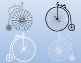 Vintage penny-farthing shapes — Stock Vector