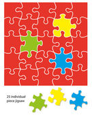 25 piece jigsaw — Stock Vector