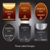 Three label designs — Stock Vector