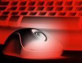 Czerwony myszy i klawiatury — Zdjęcie stockowe