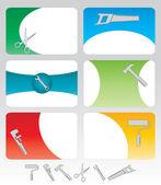 Seis cartões de ferramentas — Vetor de Stock
