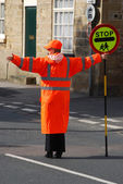 School crossing patrol officer — Stock Photo