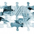 Six financial jigsaw pieces — Stock Photo