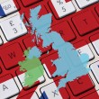 British keyboard and UK map — Stock Photo
