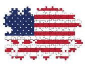 USA flag with missing pieces — Stock Photo