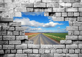 Old brickwall with country road — Stock Photo