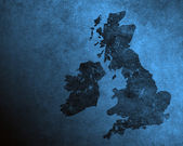 Blue grungy UK and Ireland map — Foto Stock