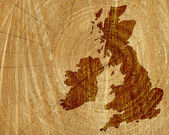 Wood map of UK and Ireland — Stock Photo