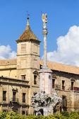 Triumph of Saint Rafael and Palacio Episcopal — Stock Photo