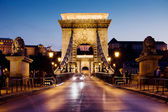 Chain Bridge in Budapest at Night — Stock Photo