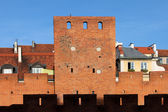 Warsaw Old Town Wall and Tower — Stok fotoğraf